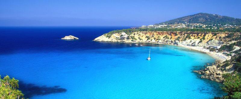 Cala d'Hort beach, Ibiza, Balearen, Spanien
