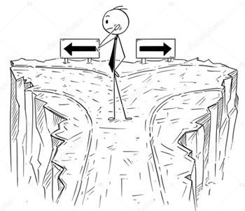 Cartoon stick man drawing conceptual illustration of businessman on dead end with no right option to choose from. Business concept of career and decision.