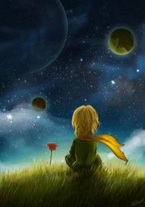 El Principito mira la noche estrellada