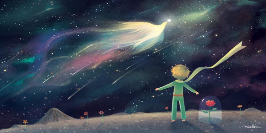 El Principito mira el pájaro en la noche estrellada.