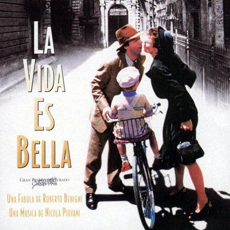 Cartel de la película La vida es bella (Roberto Benigni, 1997).