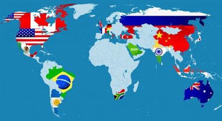 Mapa de paises del G20